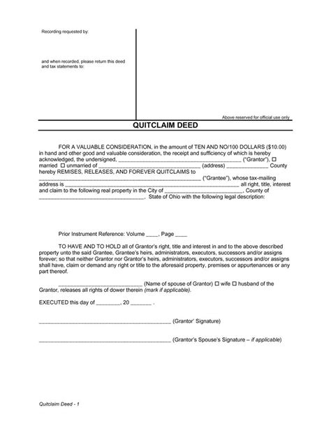 quit claim template 46 free quit claim deed forms templates template lab