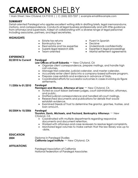 Free Resume Sles For Paralegal Paralegal Resume Exle Sle Resumes Livecareer