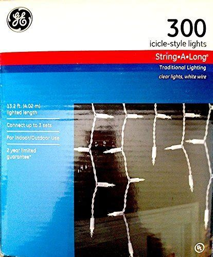 ge 300 icicle lights clear ge 300 icicle style string a long clear lights indoor or