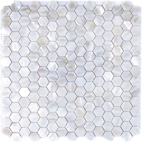 white hexagon pearl shell tile mesh backing 1 sq m or 10
