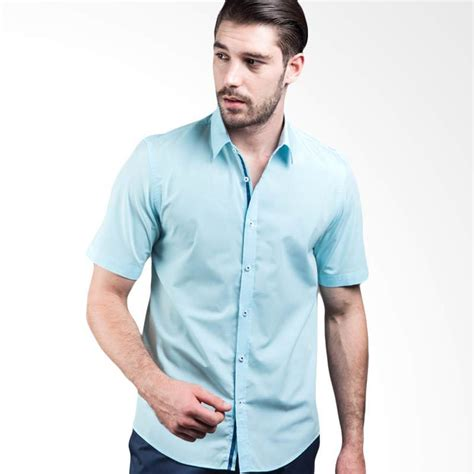 Kemeja Pria Blue jual manly sanborn plain shirt with combination light blue