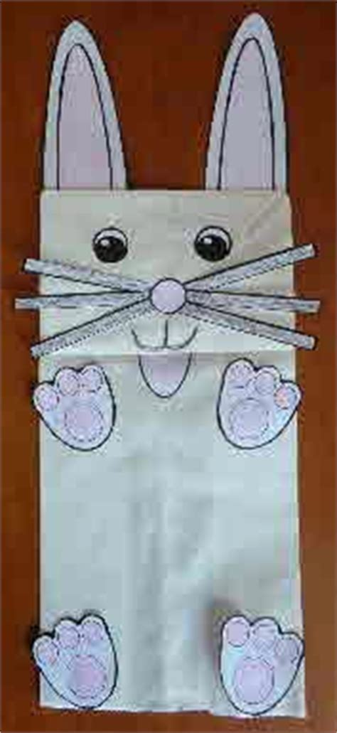 easter bunny paper bag puppet template learning easter bunny sack puppets