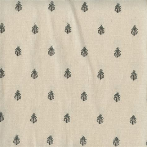 bee upholstery fabric cemb 1229 greige grey cotton canvas embroidered bee