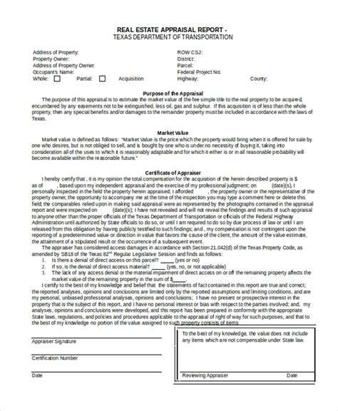 7 Sle Real Estate Appraisal Forms Free Sle Exle Format Property Valuation Form Template