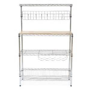 Bakers Racks Target Re Chrome Baker S Rack With Wood Block Top Target