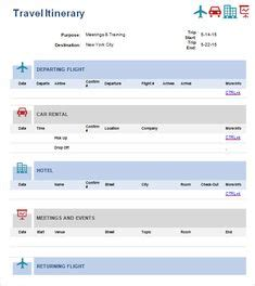 travel itinerary template  manage travels