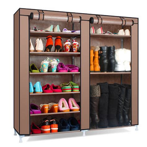 Cupboard Shelving - 6 tier covered shoes rack diy storage shelf tidy organizer