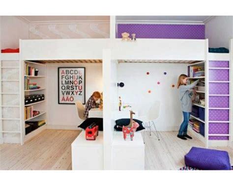 separation chambre enfant partager la chambre en deux avec des lits mezzanines