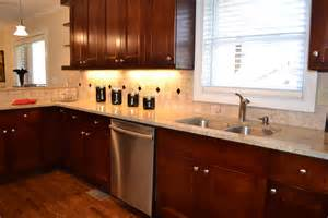 Kitchen l shaped brown polished cherry wood kitchen cabinet with white