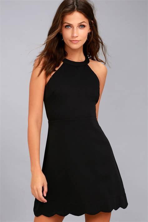 Halter Lace Dress W8255 Black black dress skater dress halter dress lbd