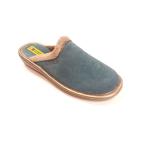 mules slippers 234 afelpado petrol blue suede leather mule slipper