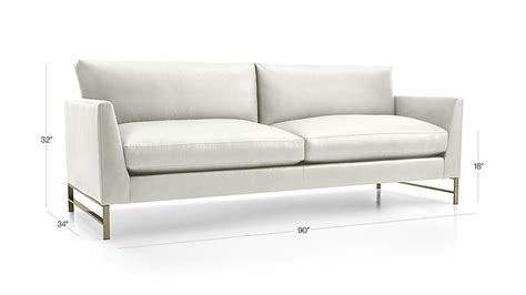 Genesis Leather Sofa With Brushed Brass Base Crate And Brushed Leather Sofa