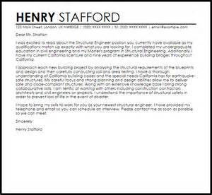 Structural Engineer Cover Letter Sample   LiveCareer