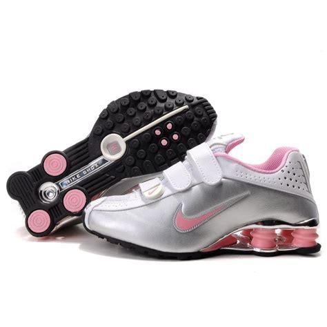womens nike shox  metallic silver white pink price