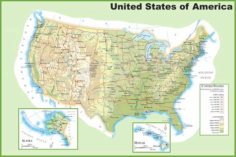 physical map of usa with states usa physical map