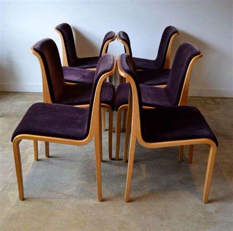 knoll bent wood and mohair dining chairs by bill stephens