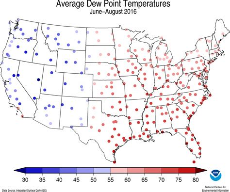 dew point map national climate report august 2016 summer dew point