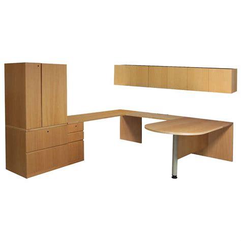 Haworth Desk by Haworth Used Left Return Veneer U Shape Desk Tiger Maple
