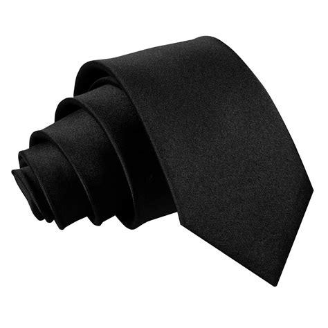 s plain black slim tie