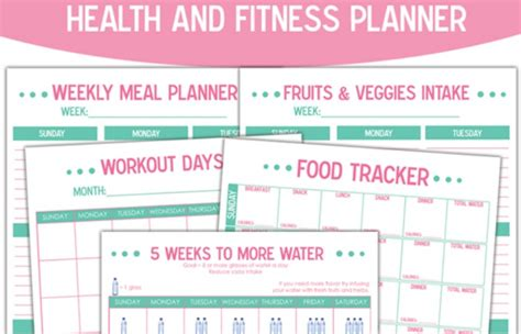 printable exercise planner free free printable health and fitness planner