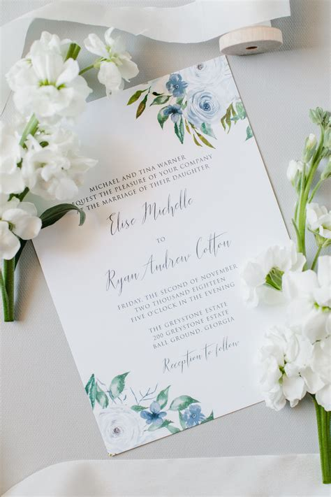dusty blue floral wedding invitation sample