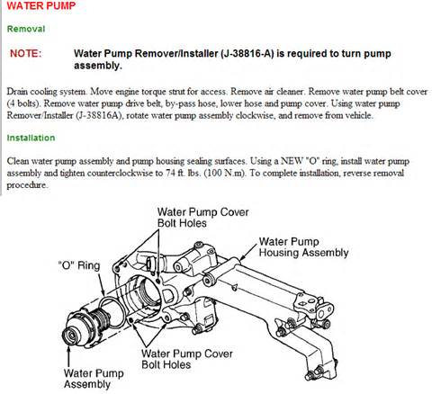 the water on a 2001 cad w northstar engine are there diagrams