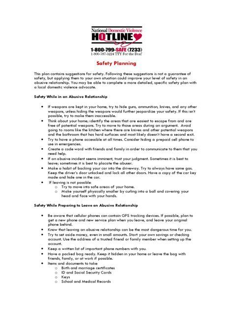 plan safety plan template