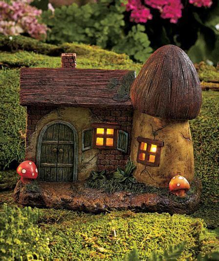 Solar Lighted Fairy Garden Gnome Home Houses Mushroom Lighted Houses
