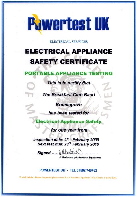 pat testing certificate template breakfast club uk 80s tribute cover band information