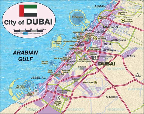 How To Reach World From Dubai Map Of Dubai United Arab Emirates Uae Map In The Atlas