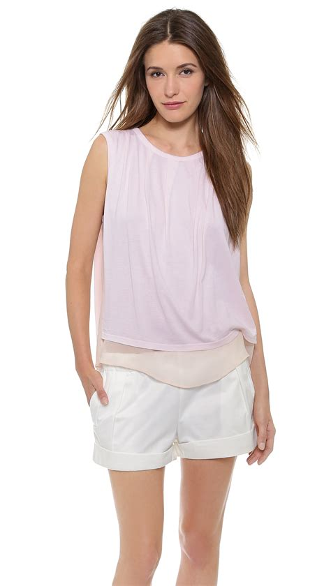 light pink top clu sleeveless top with tuck detail light pink in pink