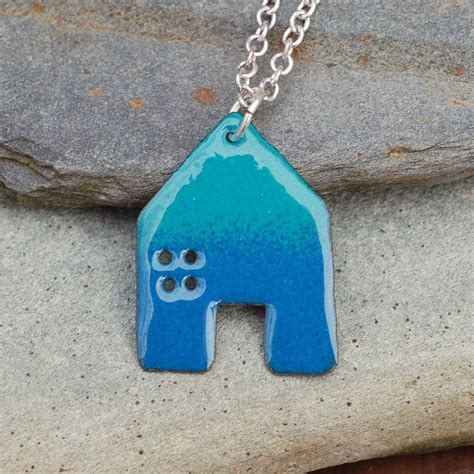 how to make copper enamel jewelry crafted enamel house necklace pendant copper home