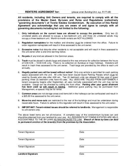 renters agreement simple rental agreement 34 exles in pdf word free