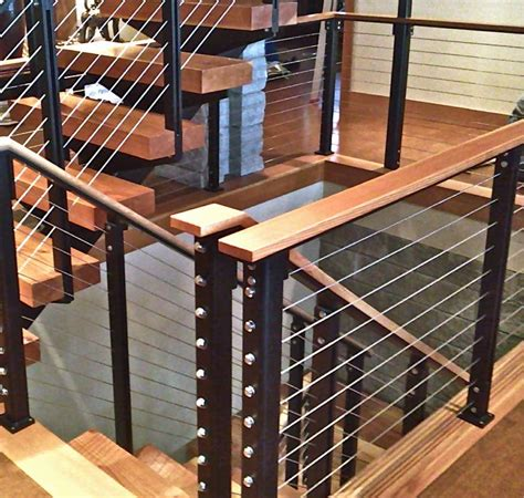 Banister Post Tops by Custom Cable Rail With Wood Top Cap And Powder Coated