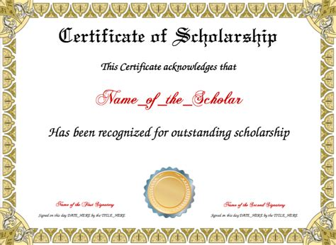 scholarship award template certificate of scholarship template