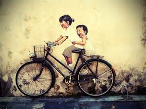 World Wall Map Mural penang street art children on a bicycle perspective of