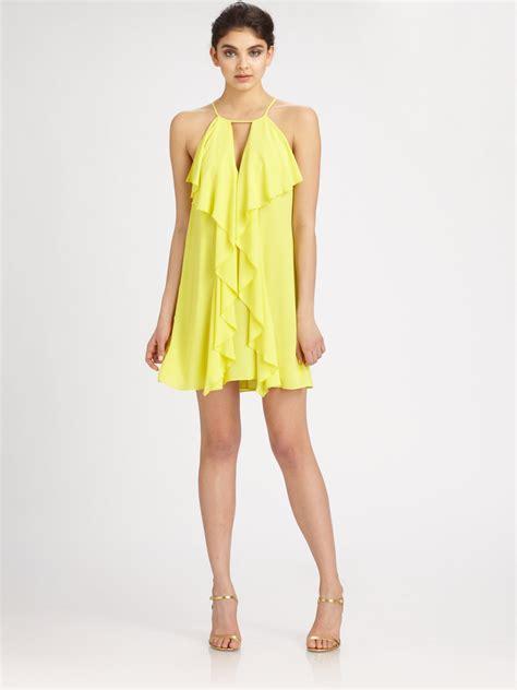 Yellow Silk Dress 31033 bcbgmaxazria silk chiffon halter dress in yellow lyst