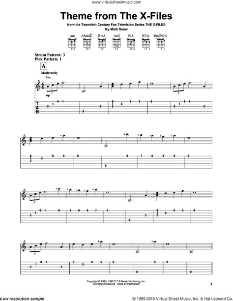 Snow - Theme From The X-Files sheet music for guitar solo