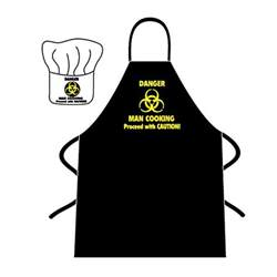 novelty apron and chef s hat danger man cooking fmag