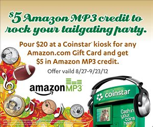 What Gift Cards Does Coinstar Offer - coinstar get a 5 amazon mp3 credit for free mommies with cents