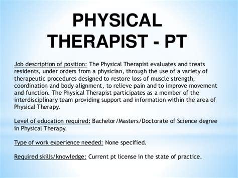 physical therapist sle description who will hire me