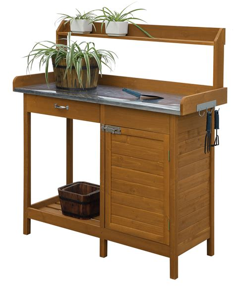backyard chirper convenience concepts deluxe potting bench with cabinet light oak