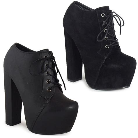 new womens ankle lace up concealed platform block