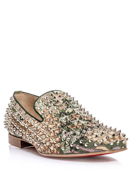 spiked loafers for christian louboutin rollerboy spiked tapestry loafer in