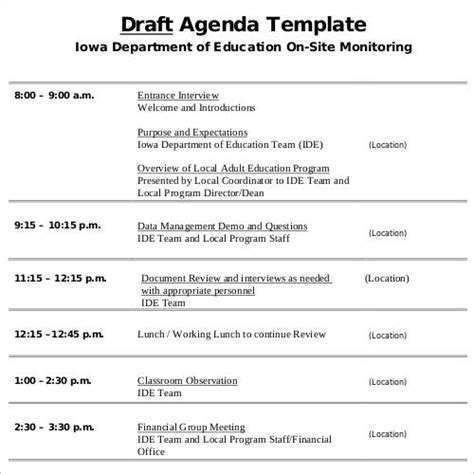 sle templates for an agenda agenda draft template 28 images 100 sle business