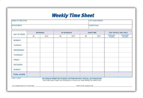 6 weekly time sheet timeline template