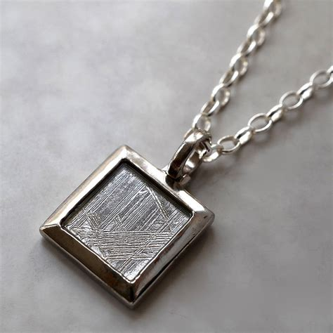 meteorite and silver square necklace by martha jackson