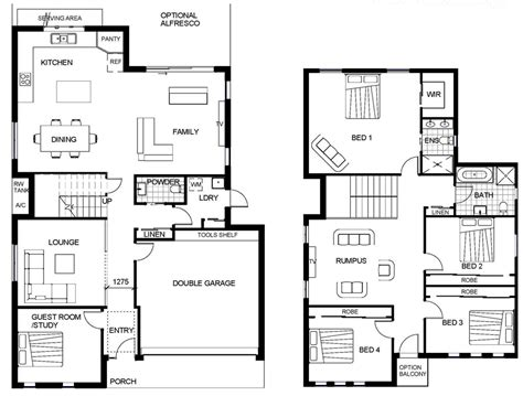 Floor Plan For 2 Storey House | 2 storey house floor plan autocad lotusbleudesignorg