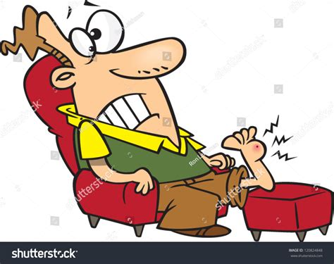 cartoon sitting on couch cartoon man sitting on couch painful stock vector