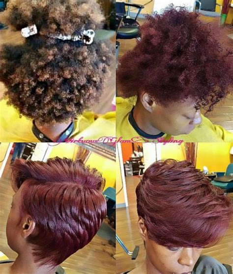short pressed hairstyles who else would rock this red wine silk press